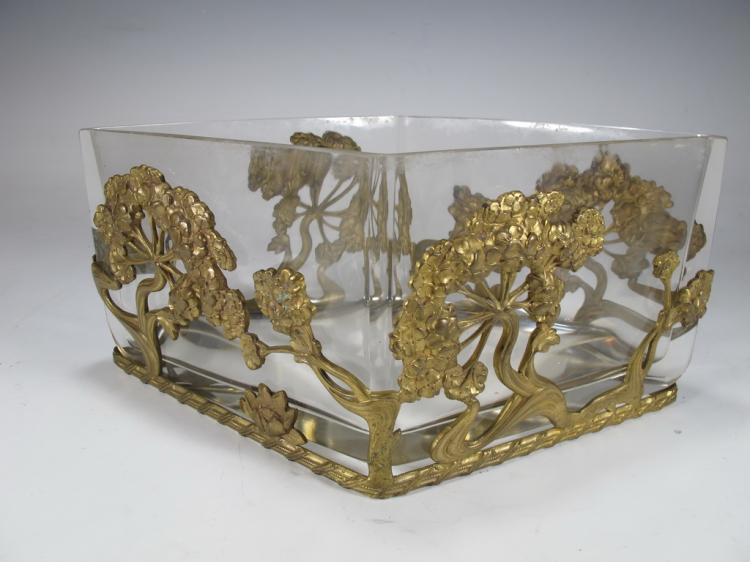 French Art Nouveau bronze & glass centerpiece
