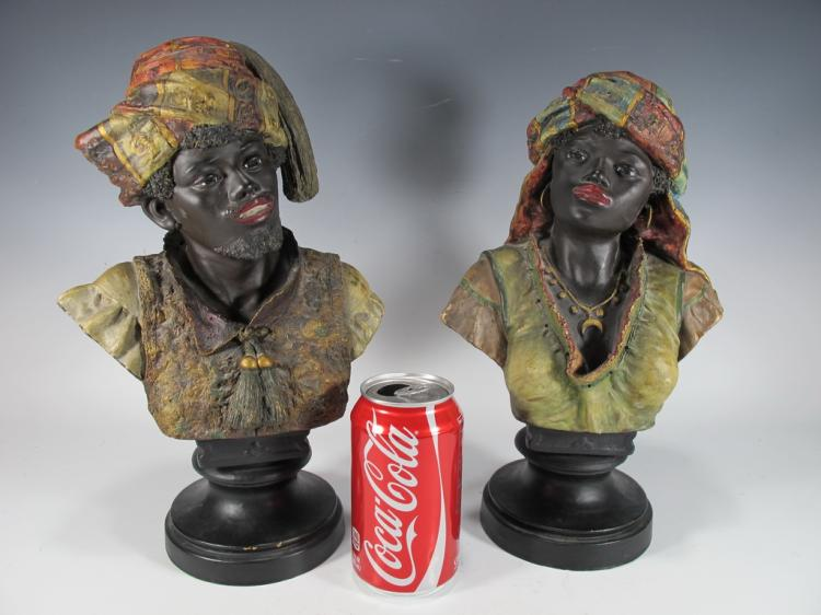 Antique pair of orientalist terracotta busts