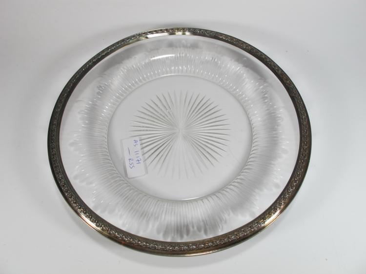 Antique French silver & glass plate