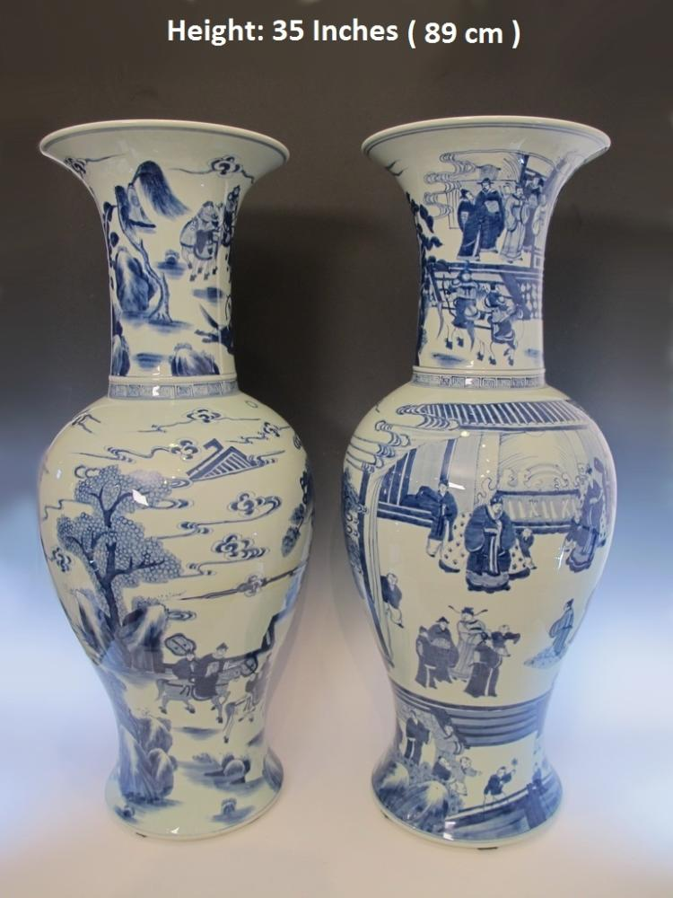 Huge Antique  pair of Chinese porcelain vases M137