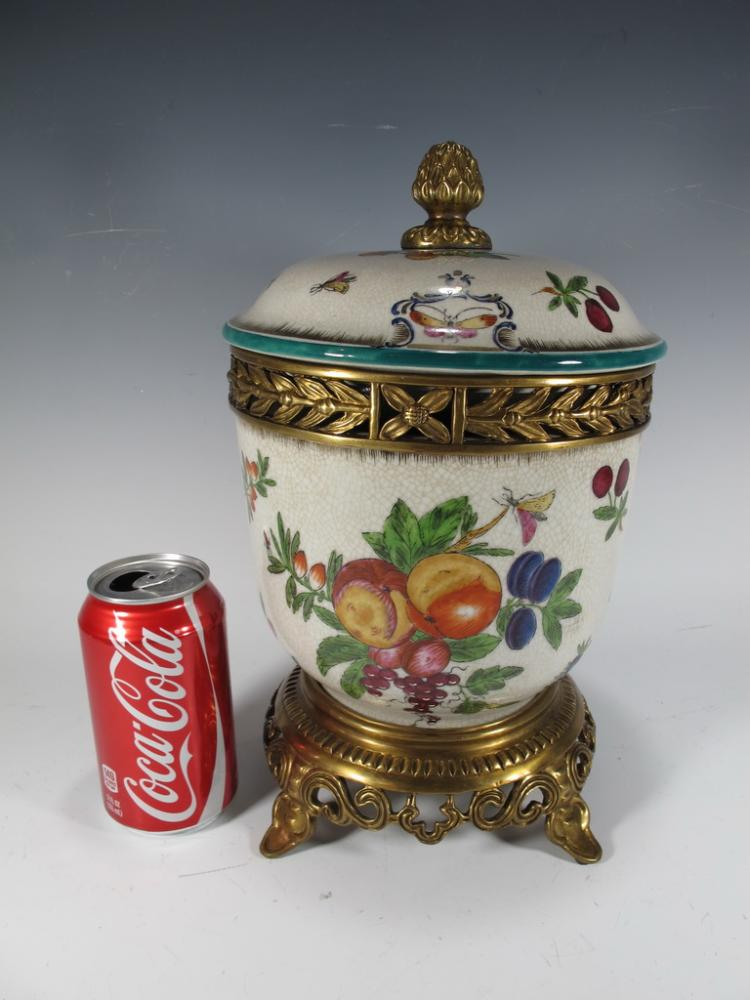 European porcelain & bronze jar