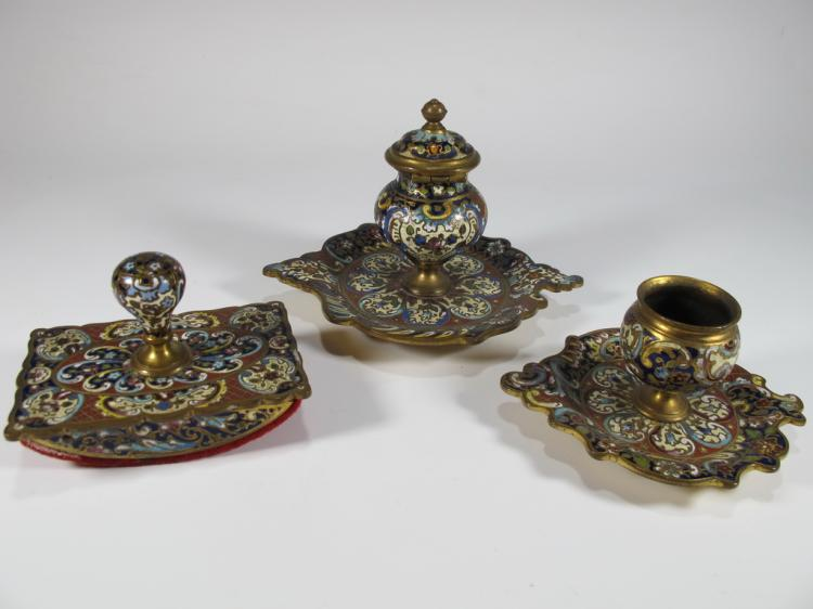 Antique bronze champleve 3 pcs desk set