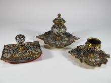 Antique bronze champleve 3 pcs desk set