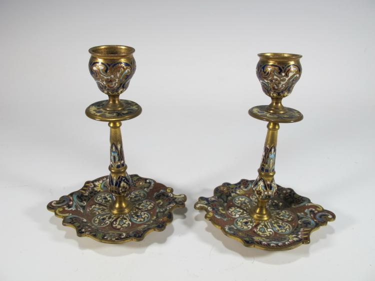 Antique French pair of bronze champleve candlesticks