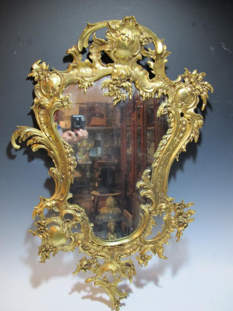 Antique French Louis XV style bronze mirror