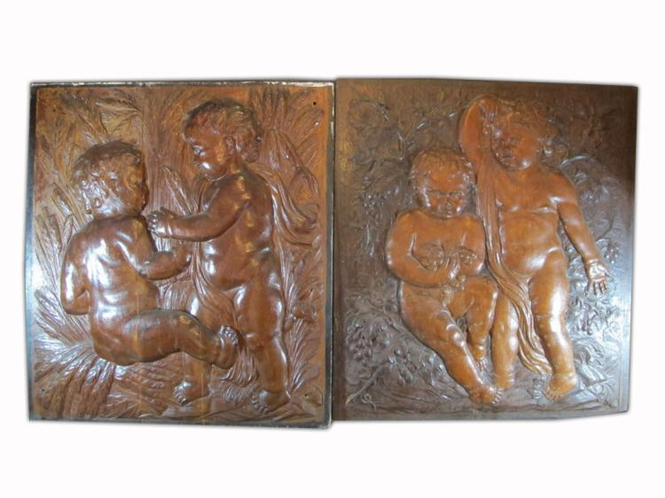 Antique European carved wood plaques