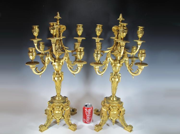 Antique French Barbedienne pair of bronze candelabras, signed