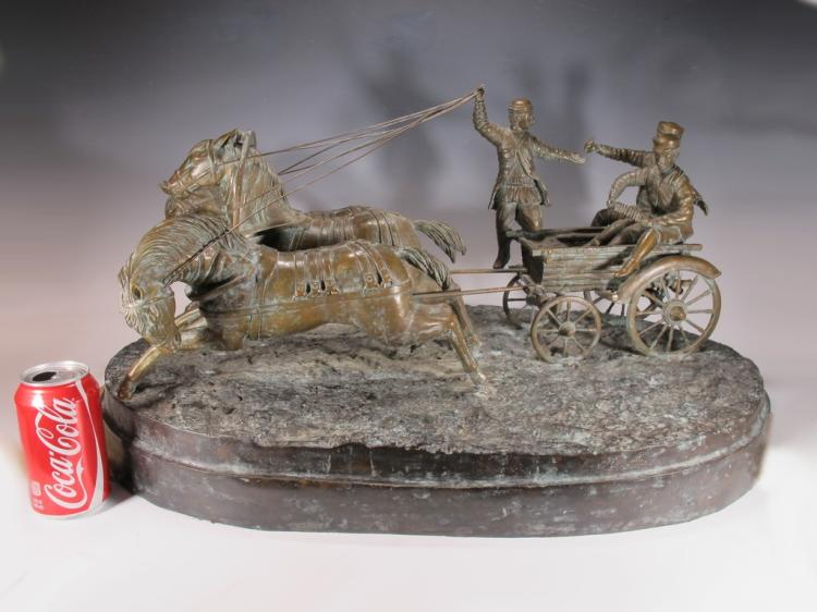 Probably Russian huge bronze carriage sculpture