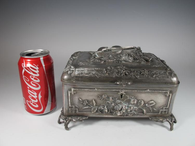 Antique French silverplated jewelry box