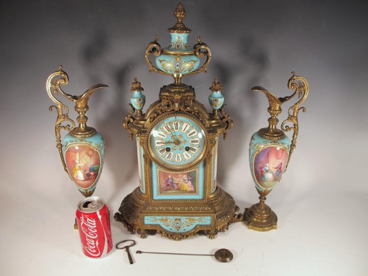 19th C Japy Freres bronze Sevres clock set