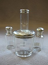 Antique set of silver & glass bottles