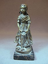 Antique French bronze statue, signed
