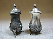 Antique pair of sterling salt/pepper shakers