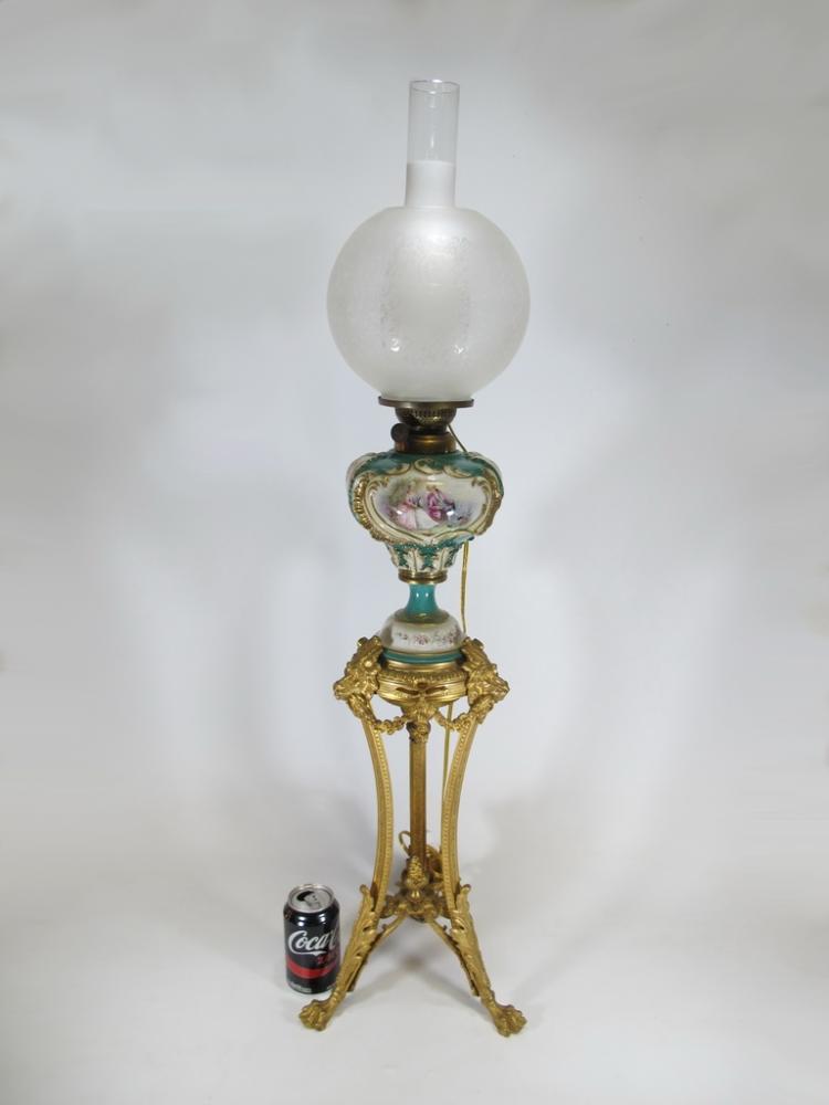 Antique Sevres style bronze & porcelain oil lamp