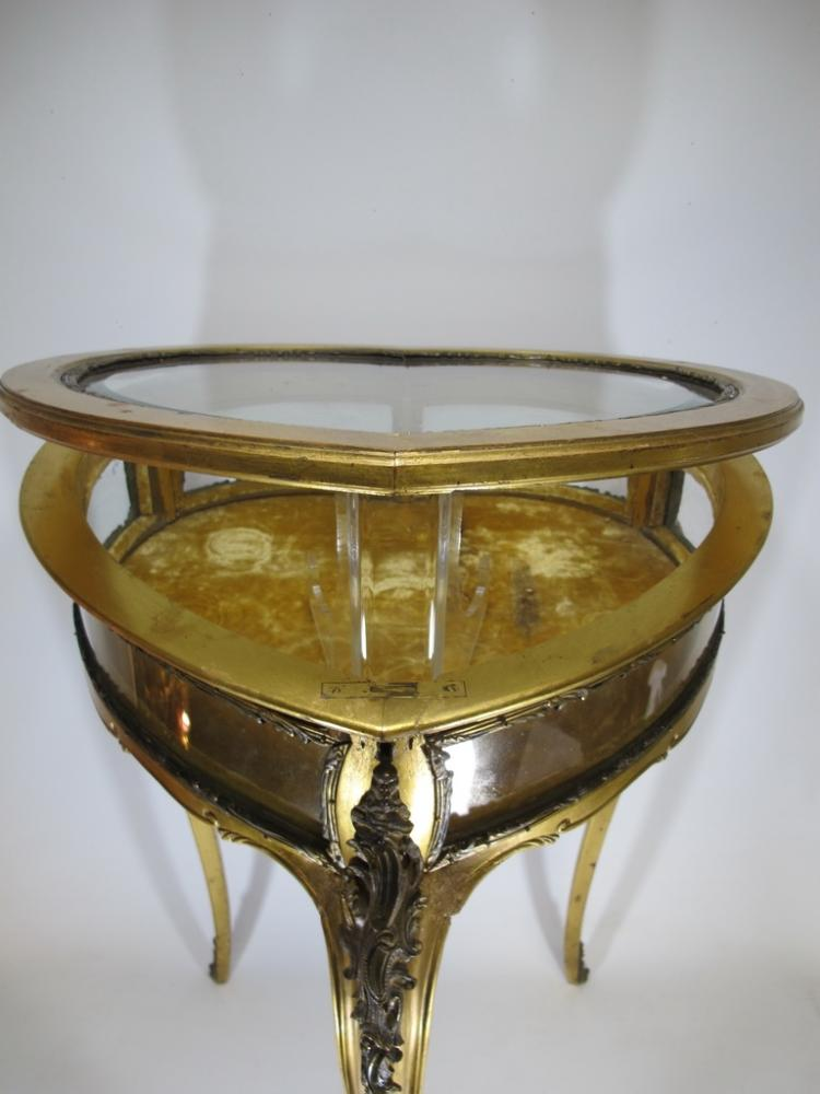 Andtique French Heart Shape Ormolu Gilt Wood Beveled Glass
