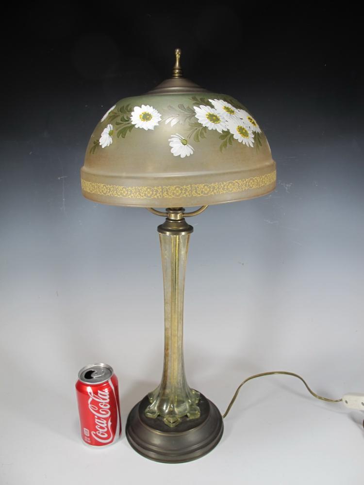 antique glass table lamp signed. Black Bedroom Furniture Sets. Home Design Ideas