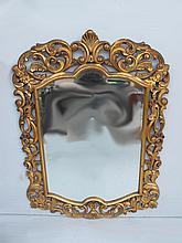 Antique French Louis XV gilded walnut mirror
