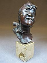 Antique European woman head bronze statue