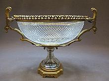 Baccarat style bronze & glass centerpiece