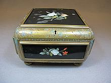 Antique bronze, rubi, porcelain & turquoise box