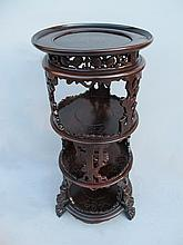 Antique Oriental carved mahogany pedestal