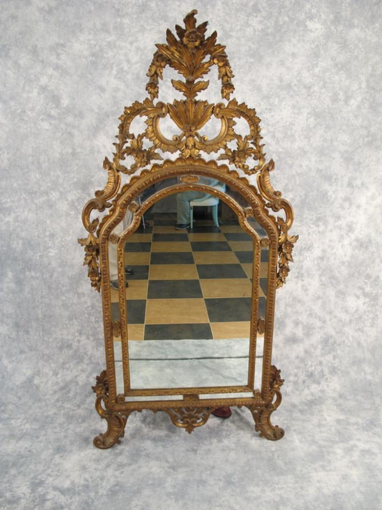 Antique french louis xv gilded mirror for Antique french mirror