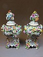 German Dresden pair of porcelain urns