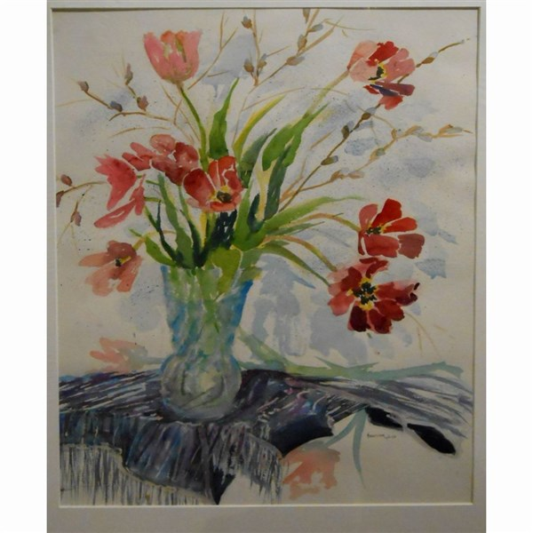 Still Life Floral Watercolor With Tulips