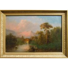 Early California Landscape Oil With Fishermen & Mill