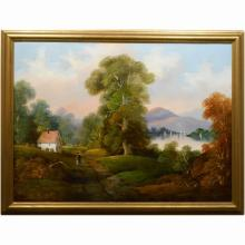 Large Continental School Country Landscape Oil Painting