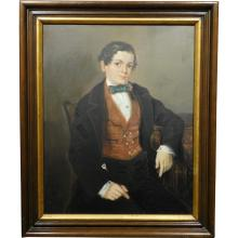c1890 Portrait, Boy with Bow Tie & Cane, oil on canvas