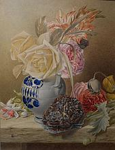 Antique Floral Still Life By Mary Elizabeth Duffield (1819-1914)