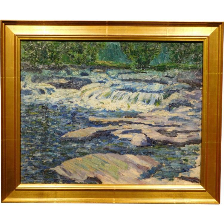 E.A.Barck, Rocky River oil painting c. 1940