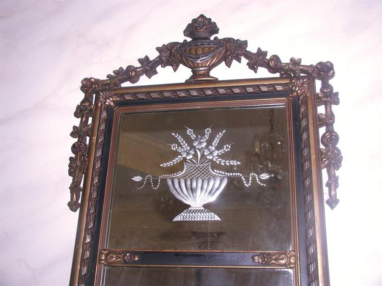 Neoclassical Etched Mirror French Gilt Black Early 1900's
