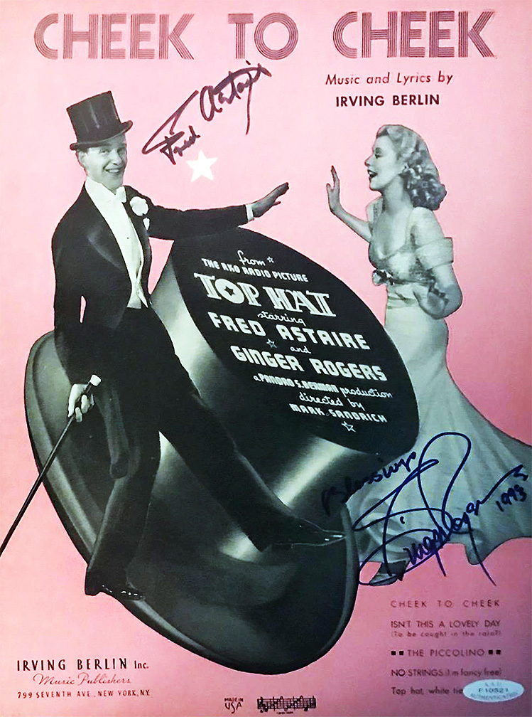 Cheek To Cheek Fred Astaire Ginger Rogers Signed Sheet M