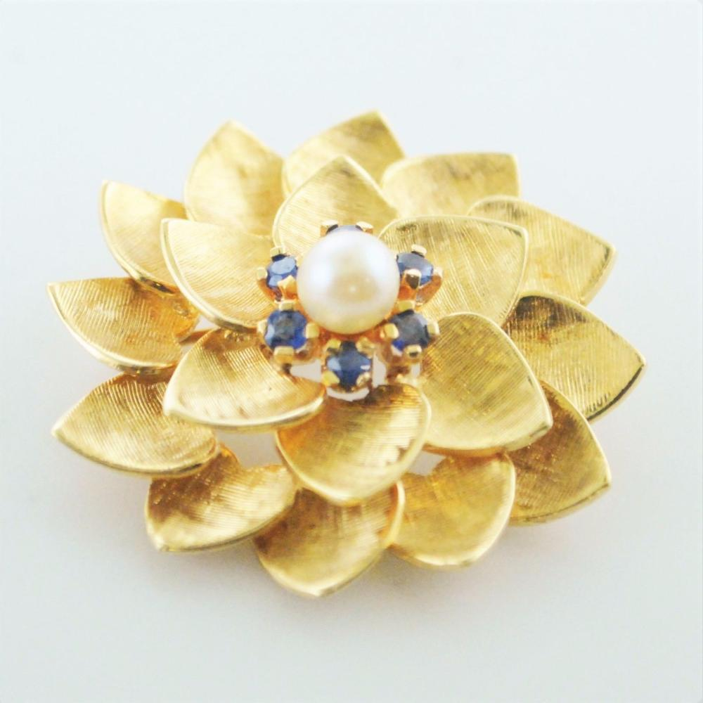 d9297d501 Vintage ALA Flower Brooch/Pin Yellow Gold Pearl Sapphire $8K