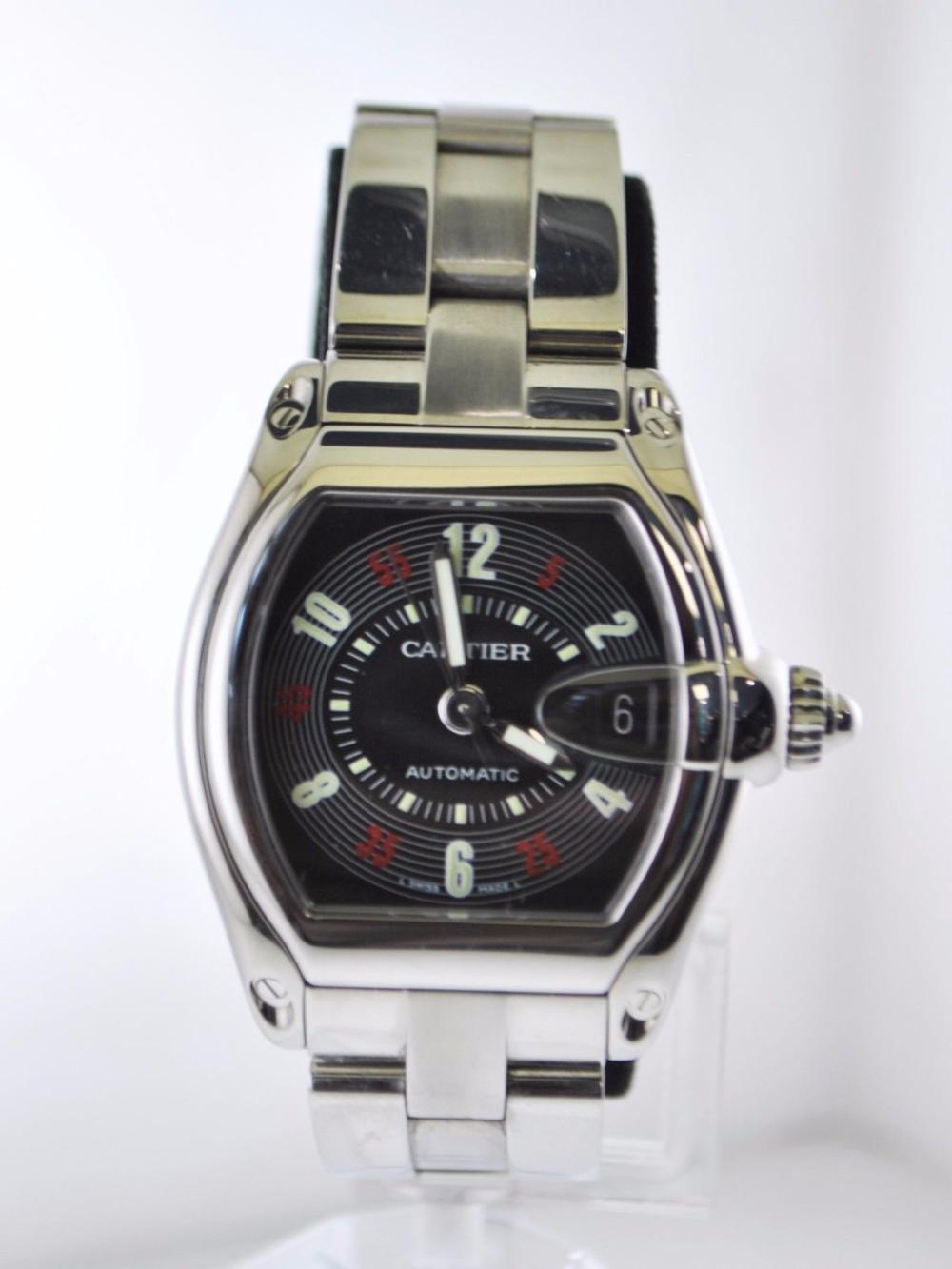 4bdc4f3a701 Cartier Roadster  2510 Automatic Wristwatch Tonneau Case Bla