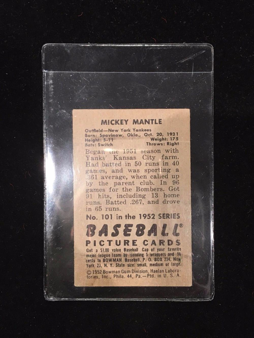 1952 Bowman Mickey Mantle New York Yankees 101 Baseball Card Wcoa App5k