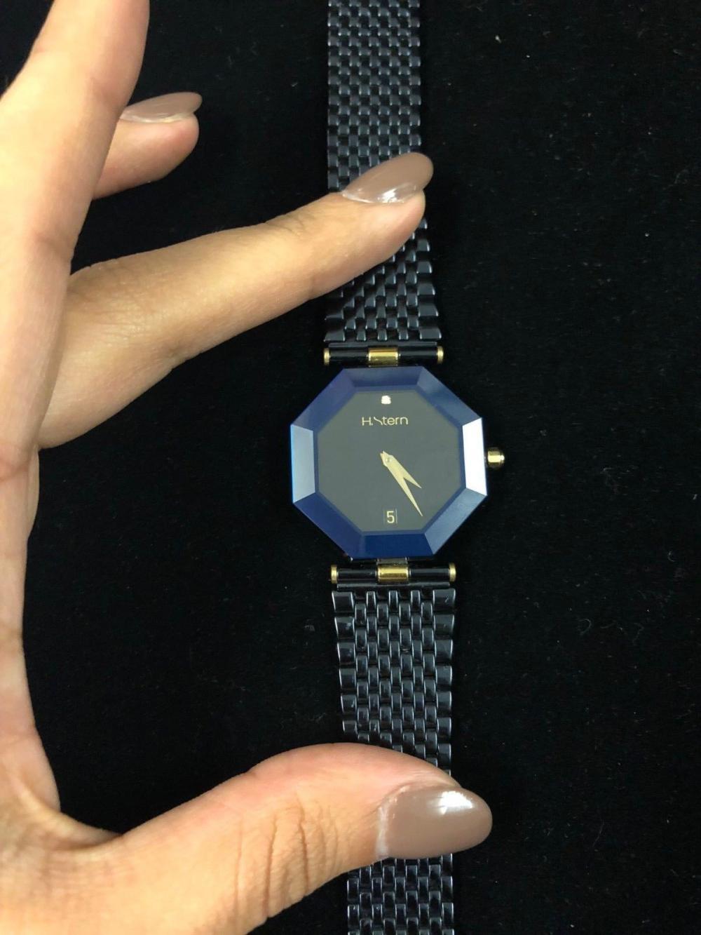 efc2aed8c H Stern Unisex Watch Octagon Shape w/ diamond SS Blue Sapphire w/ COA $10