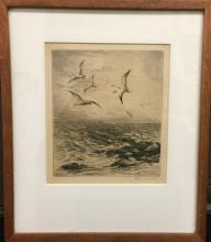 Roland Clark, 'Seagulls Above The Sea', Etching, c. 1930 - Appraisal Value: $10K*
