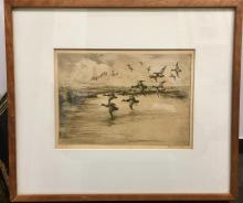 Roland Clark, 'Black Ducks at a Pond', Etching, c. 1930 - Appraisal Value: $13K*