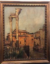 LUCIANO ALBERTINI - Post Impressionist Oil Painting of Rome Ruins c.1932 - w/ COA- $8k APR!!@