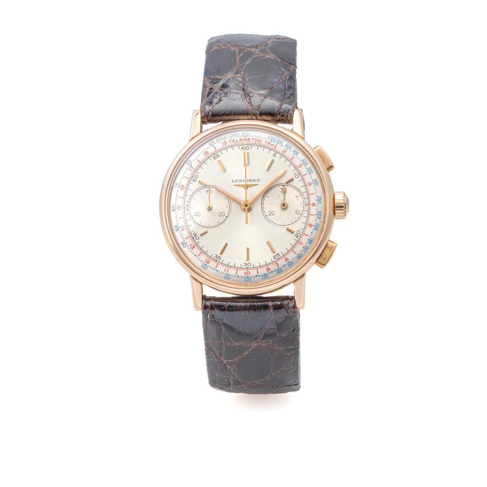 LONGINES, REF. 7414, FLYBACK CHRONOGRAPH, 30CH, PINK GOLD