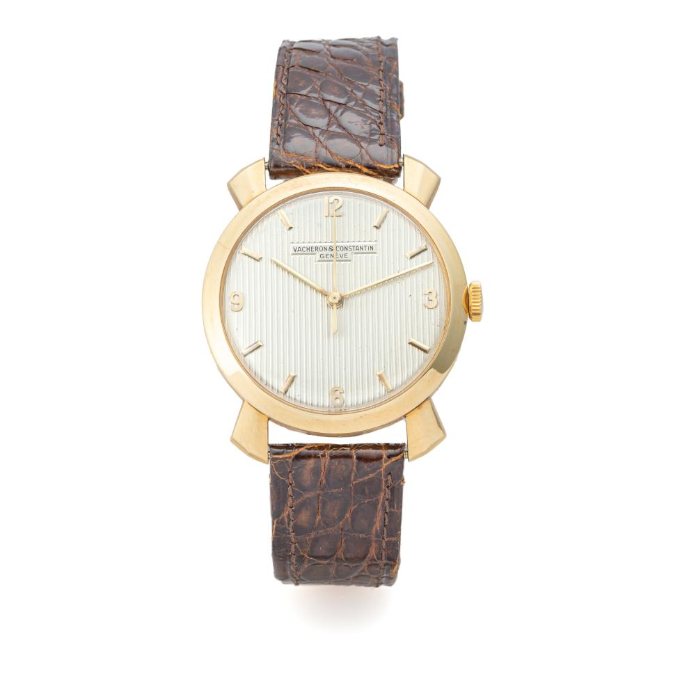 VACHERON CONSTANTIN, CENTER-SECONDS, FLARED LUGS, STRIPED DIAL, YELLOW GOLD