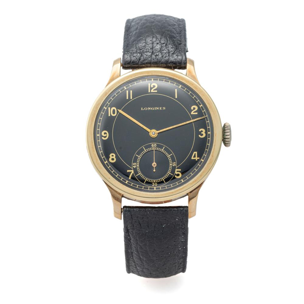 LONGINES, OVERSIZE, BLACK DIAL, YELLOW GOLD