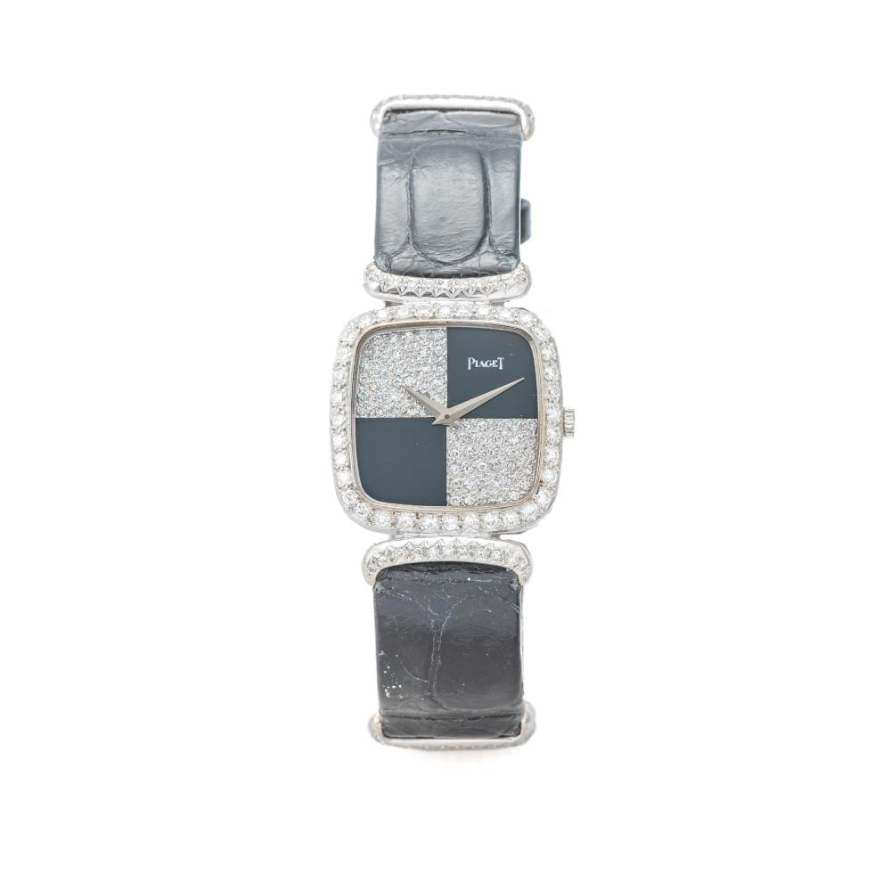 PIAGET, REF. 9902, ONYX AND DIAMONDS, WHITE GOLD