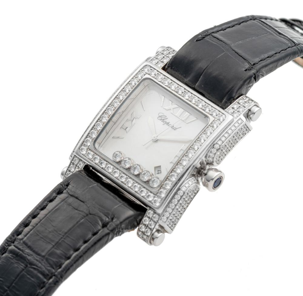 """CHOPARD REF. 28-3571-1001, MOTHER-OF-PEARL DIAL, DIAMONDSET BEZELS, LUGS AND BAND-CASE; """"HAPPY DIAMONDS – SPORT SQUARE II""""; 18K WHITE GOLD AND DIAMONDS"""
