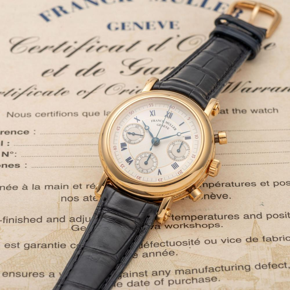 FRANCK MULLER, REF. 7008, CHRONOGRAPHE DOUBLE FACE, NO. 01, YELLOW GOLD