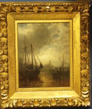 19th C. English Oil on Canvas w/ Ocean Scene,Signe