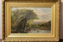Oil on Canvas w/ Gilt Frame, Landscape Scene